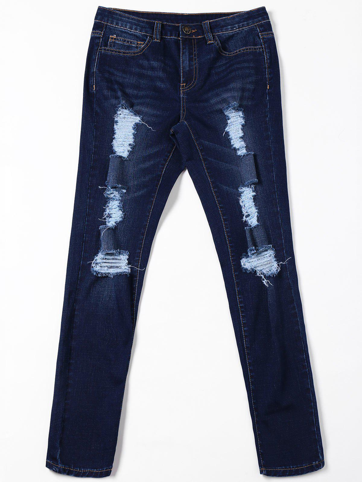 Ripped Cat's Whisker Jeans with Pockets - BLACK BLUE M