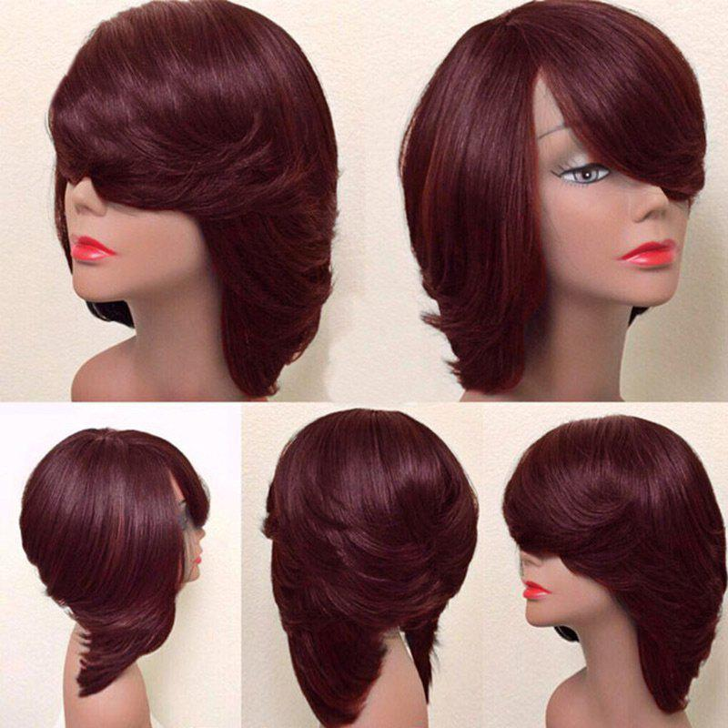 Short Oblique Bang Thick Straight Feathered Bob Synthetic Wig - WINE RED