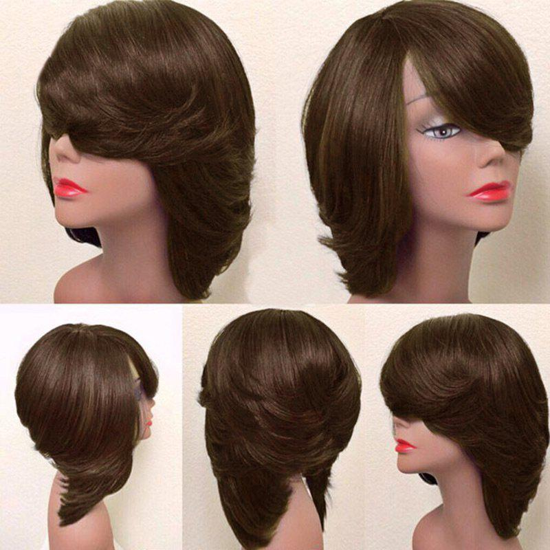 Short Oblique Bang Thick Straight Feathered Bob Synthetic Wig - BROWN