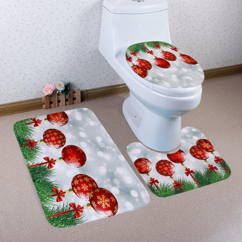 Christmas Bauble Pattern 3 Pcs Bathroom Toilet Mat halloween bloody hand pattern 3 pcs bathroom toilet mat
