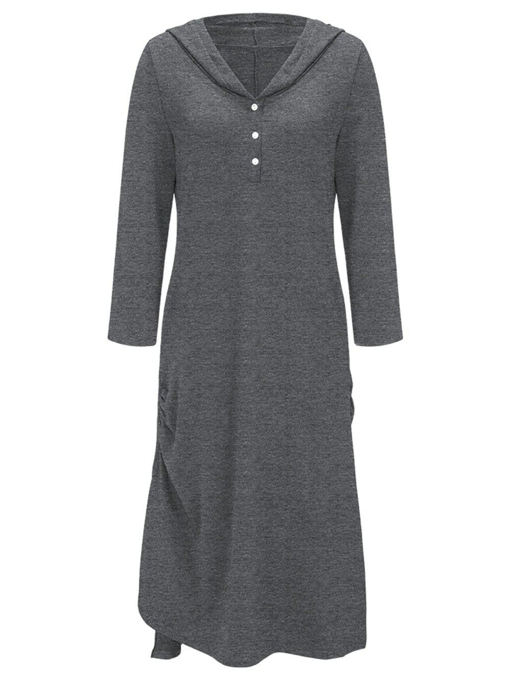 Side Ruched Casual Hooded Dress - gris XL