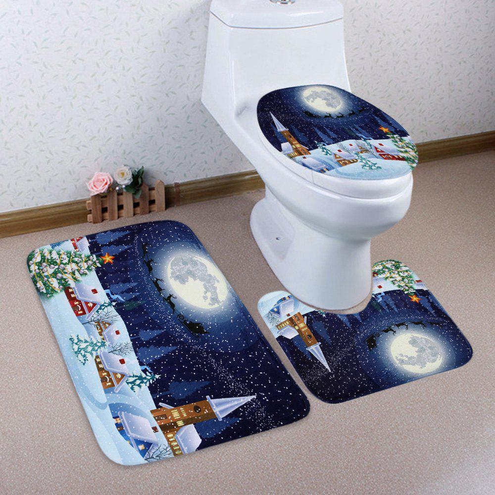 Christmas Night Pattern 3 Pcs Bathroom Toilet Mat halloween bloody hand pattern 3 pcs bathroom toilet mat