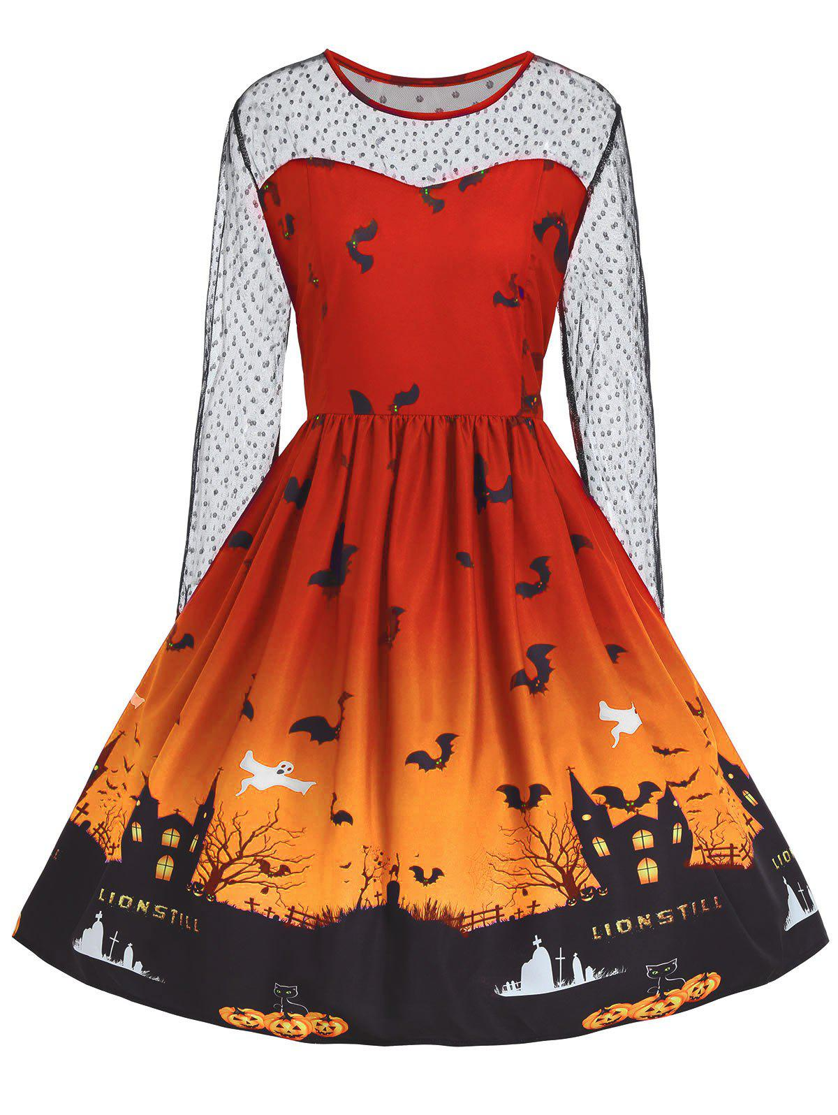 Plus Size Lace Panel Halloween Pumpkin Castle Print Dress - ORANGE 4XL