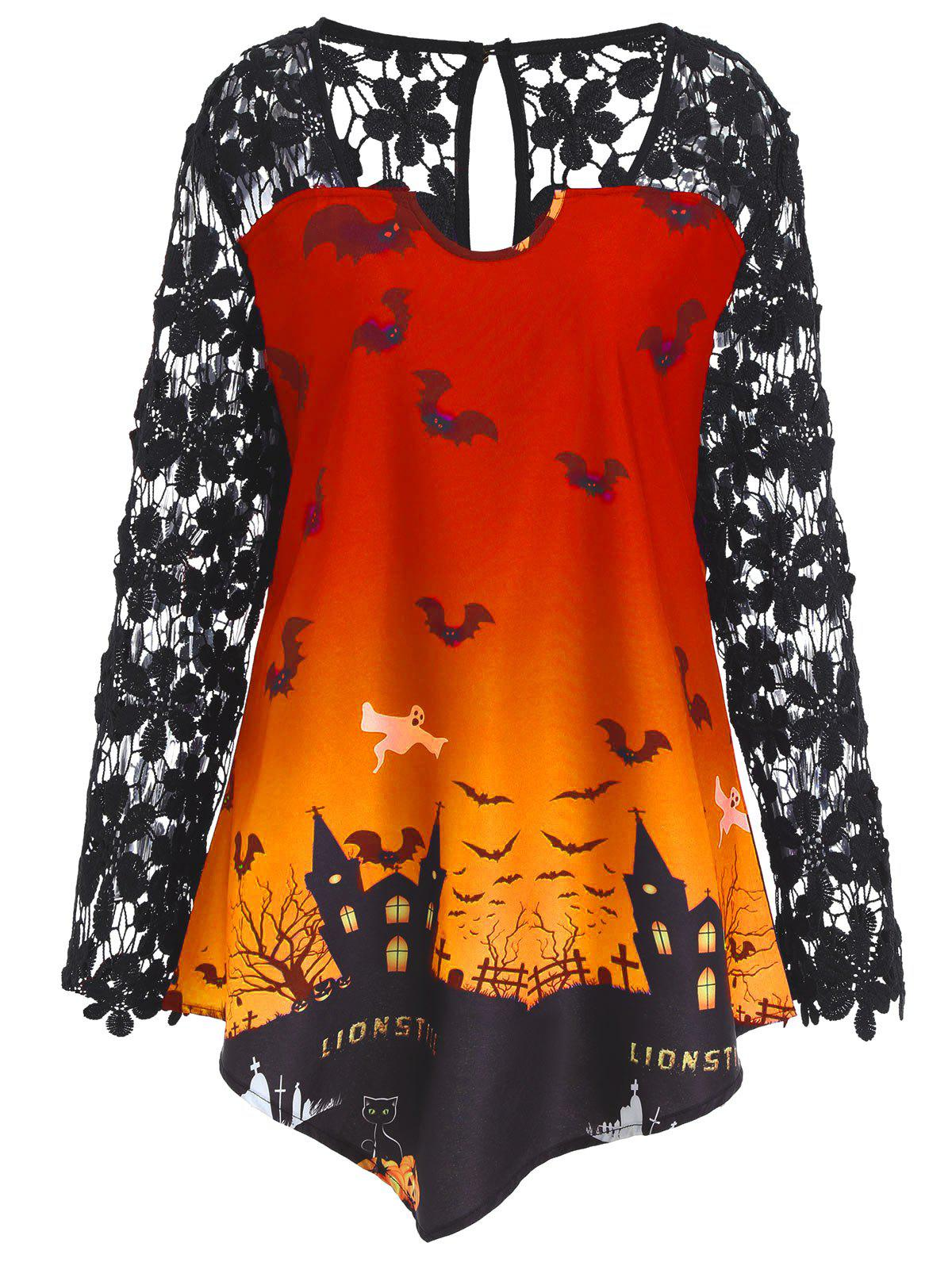 plus size halloween lace panel asymmetrical t shirt orange xl