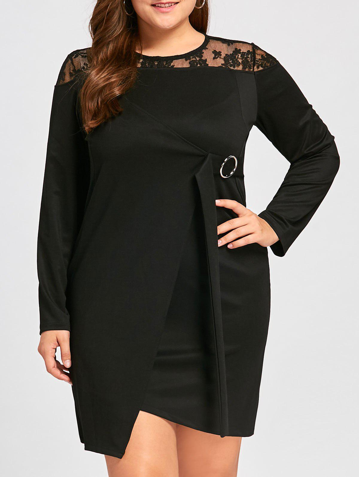 Plus Size Lace Insert Long Sleeve Asymmetric Dress - BLACK 5XL