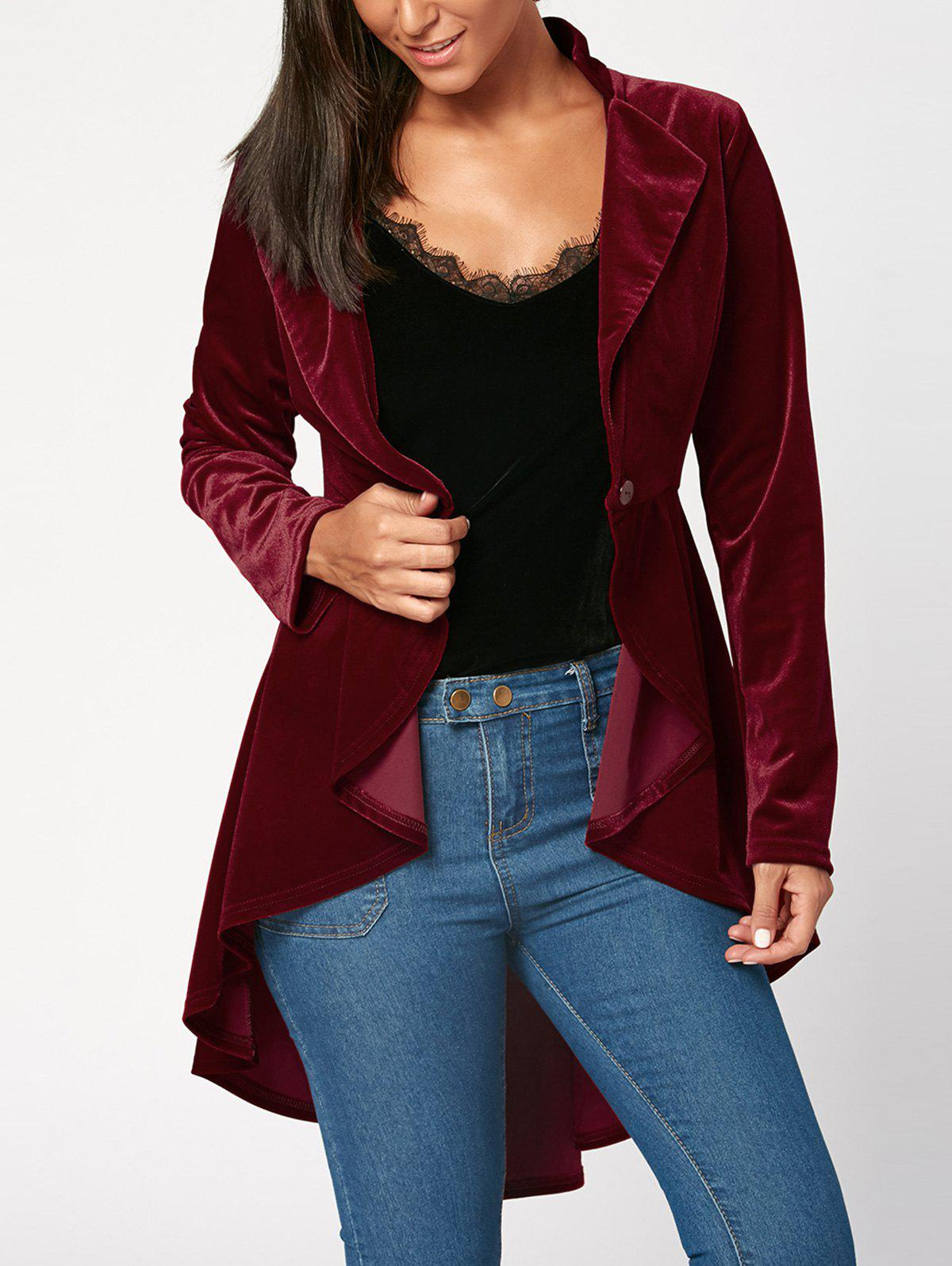 One Button High Low Peplum Velvet Blazer - Rouge vineux XL