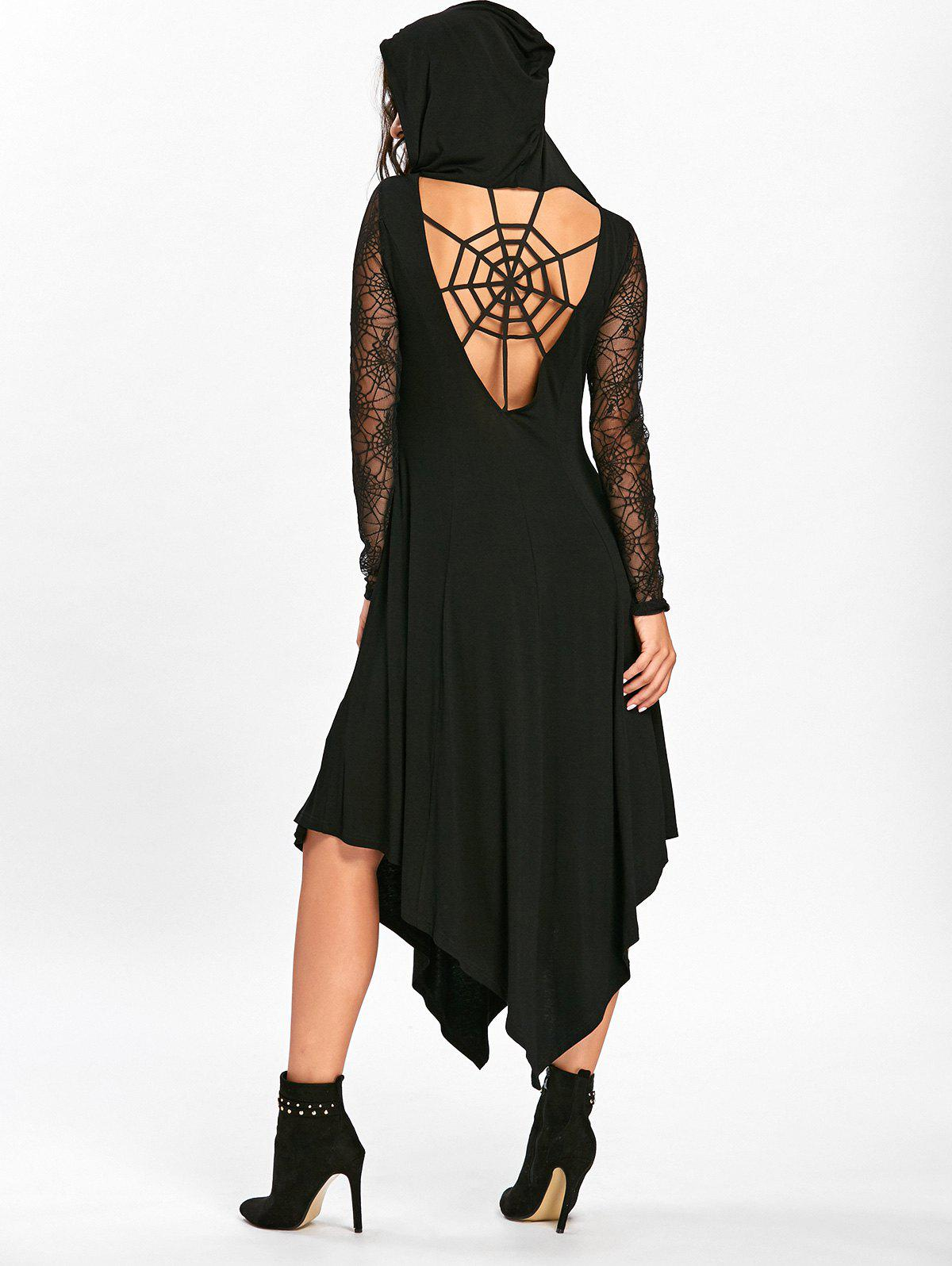 Halloween Spider Web Cut Out Midi Handkerchief Dress - BLACK XL