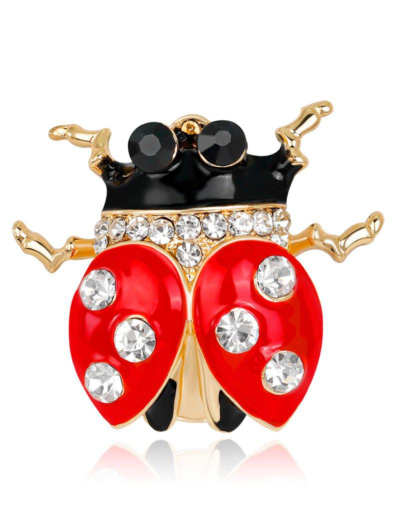 Rhinestone Ladybird Shape Brooch - RED