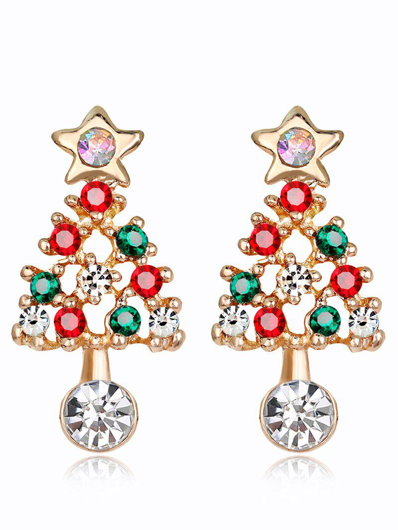 Acrylic Rhinestones Hollow Out Christmas Tree Earrings - COLORMIX