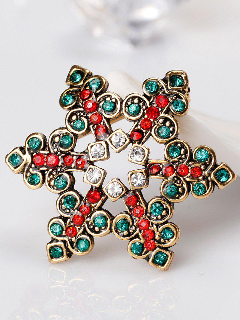 Hollow Out Rhinestones Snowflake Brooch - GREEN