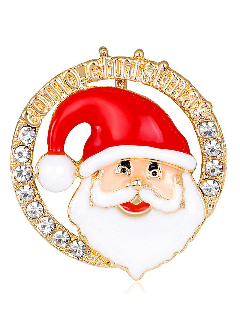 Santa Claus Head Portrait Round Shape Brooch - RED