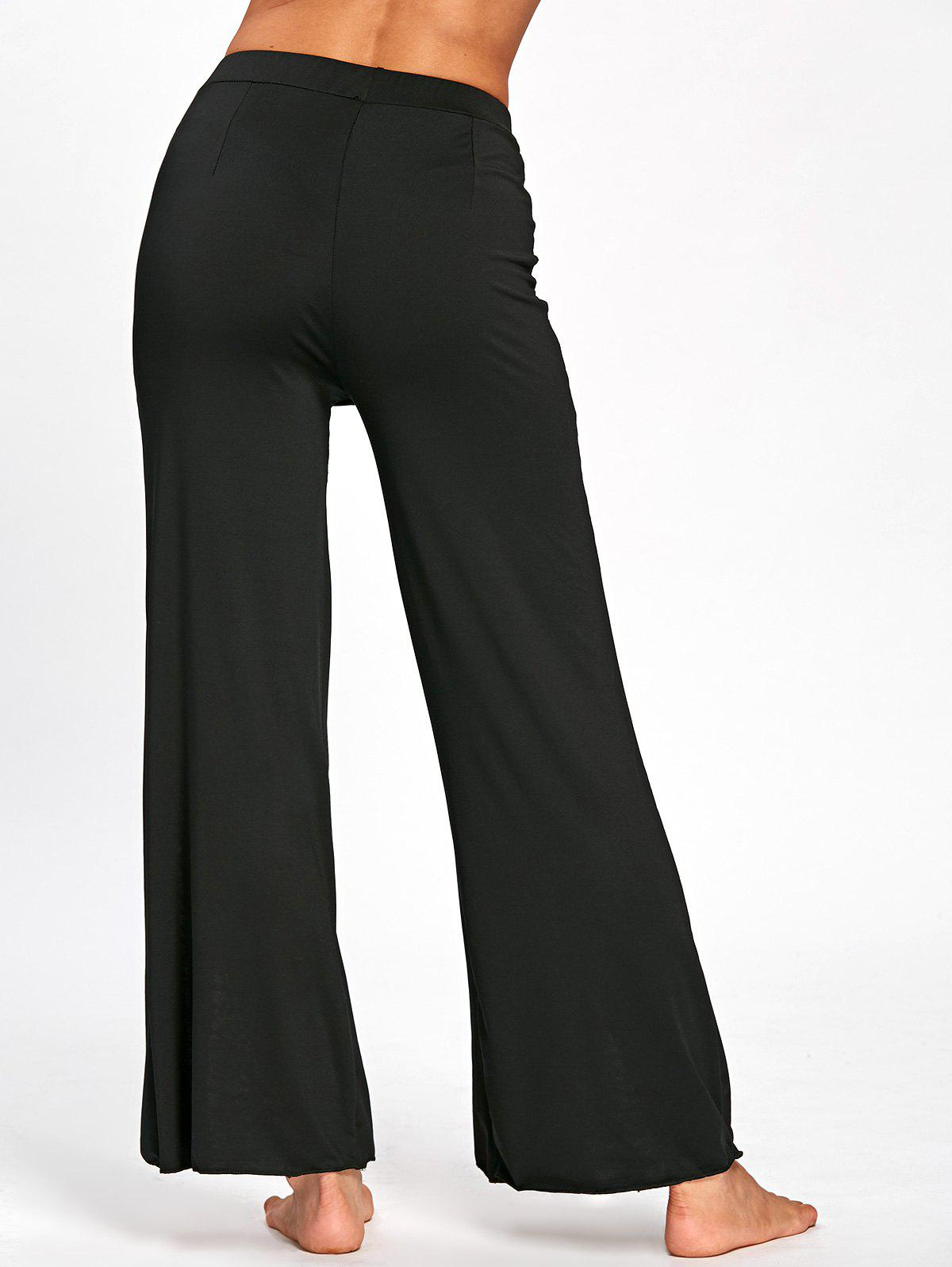 Lace Panel High Slit Palazzo Pants - BLACK 2XL