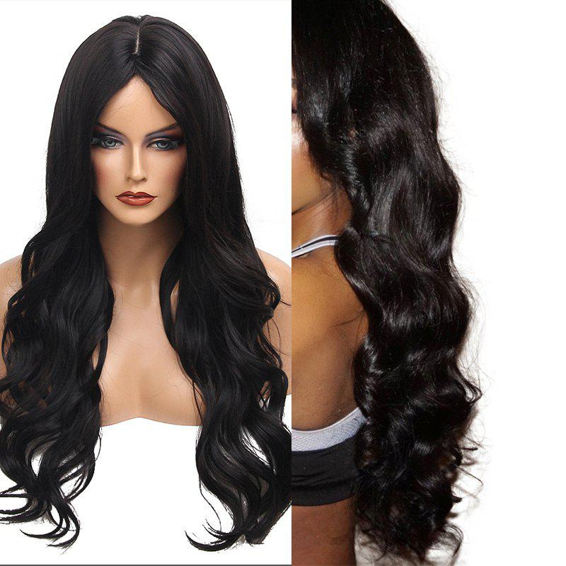 Middle Part Long Wavy Heat Resistant Synthetic Wig - JET BLACK