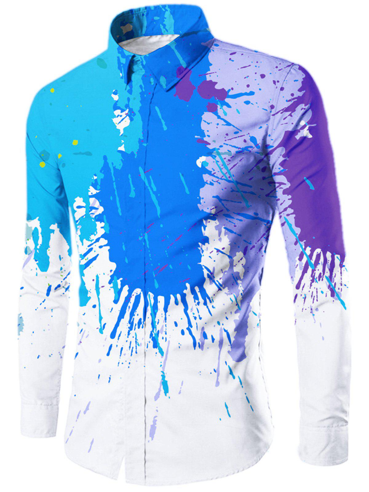 Allover Colored Painted Button Up Shirt