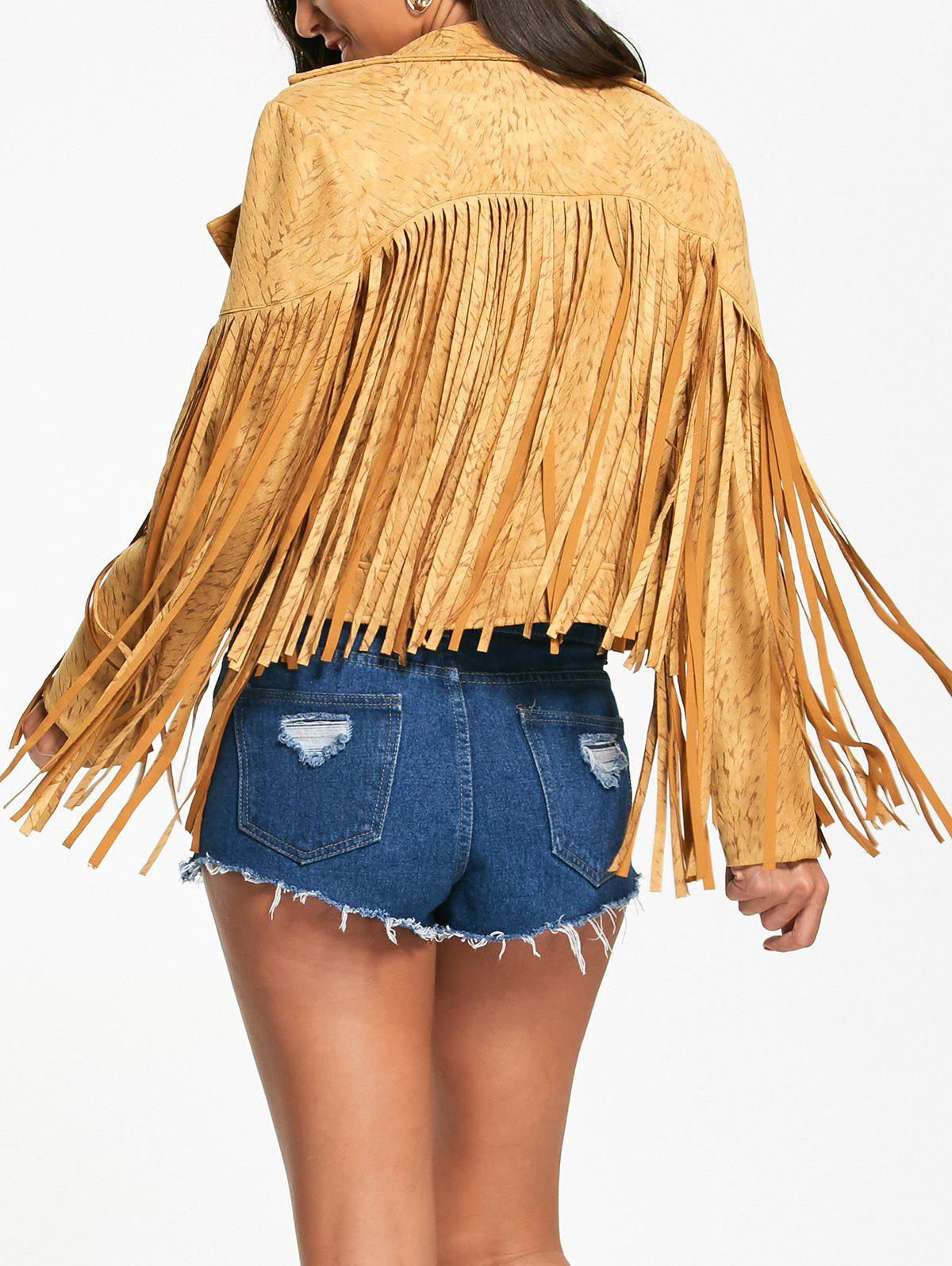 Long Fringed Short Zip Up Jacket - YELLOW L