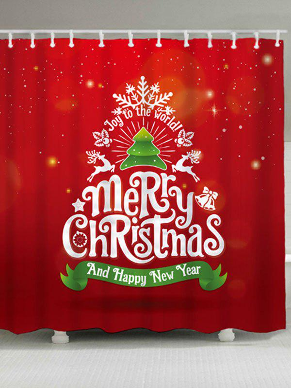 Christmas Tree Letter Print Waterproof Shower Curtain christmas tree letter print waterproof shower curtain