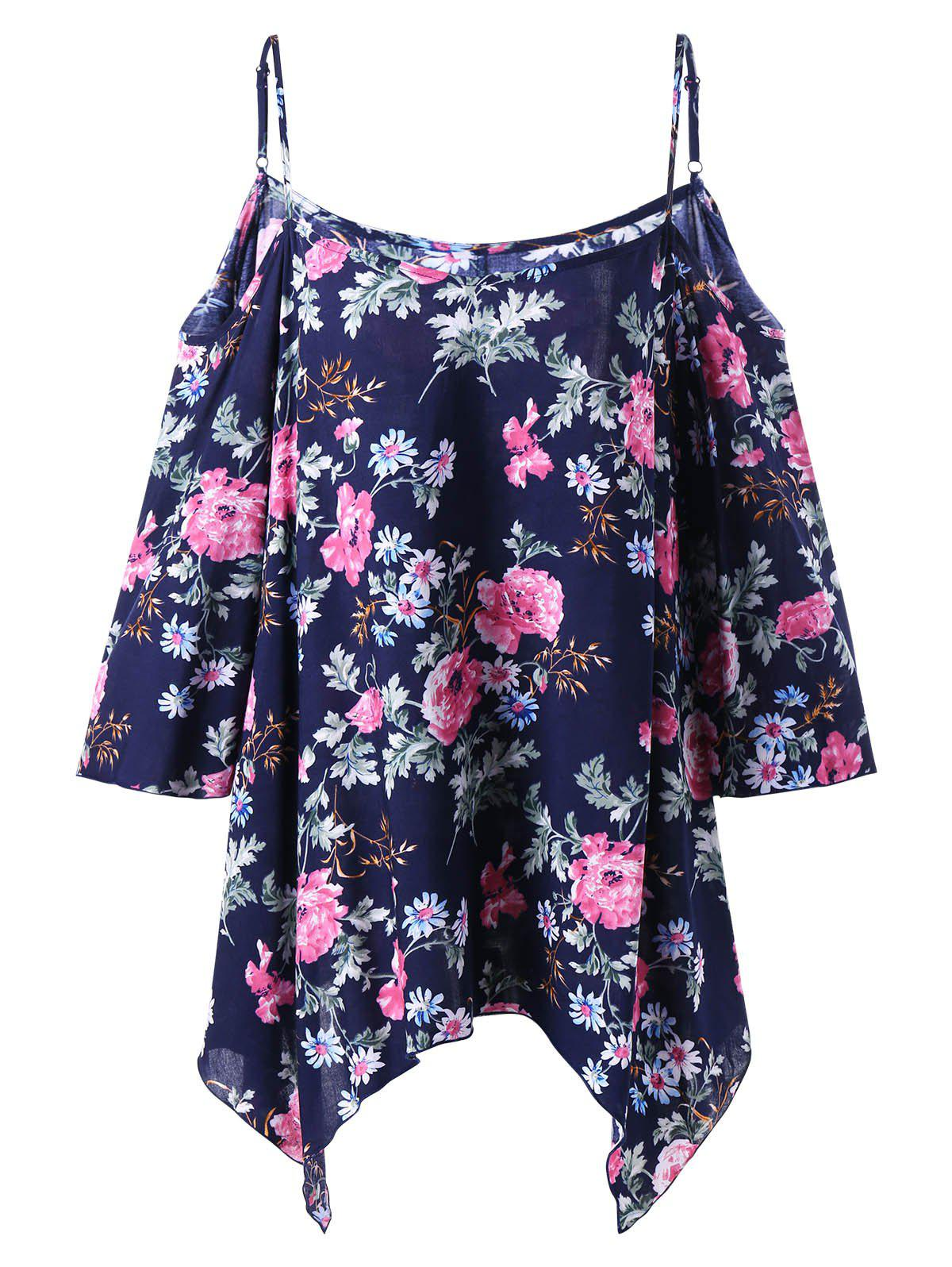 Plus Size Floral Dew Shoulder Handkerchief Blouse - DEEP BLUE XL