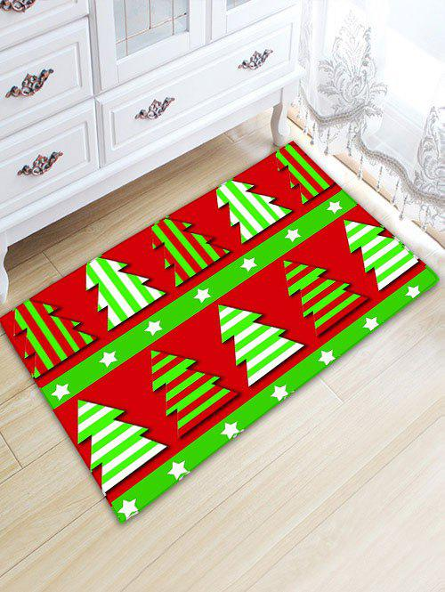 Flannel Thickening Christmas Tree Bath Mat - RED/GREEN W20 INCH * L31.5 INCH