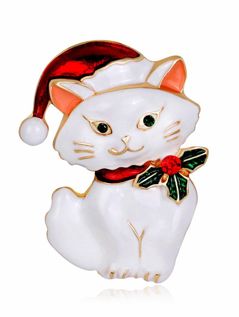 Rhinestone Christmas Hat Kitten Brooch - WHITE
