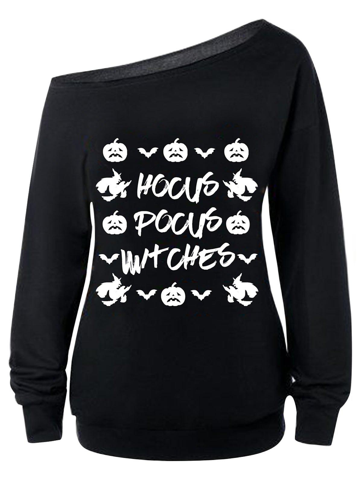 Skew Neck Pumpkins Witches Letters Print Sweatshirt - BLACK M