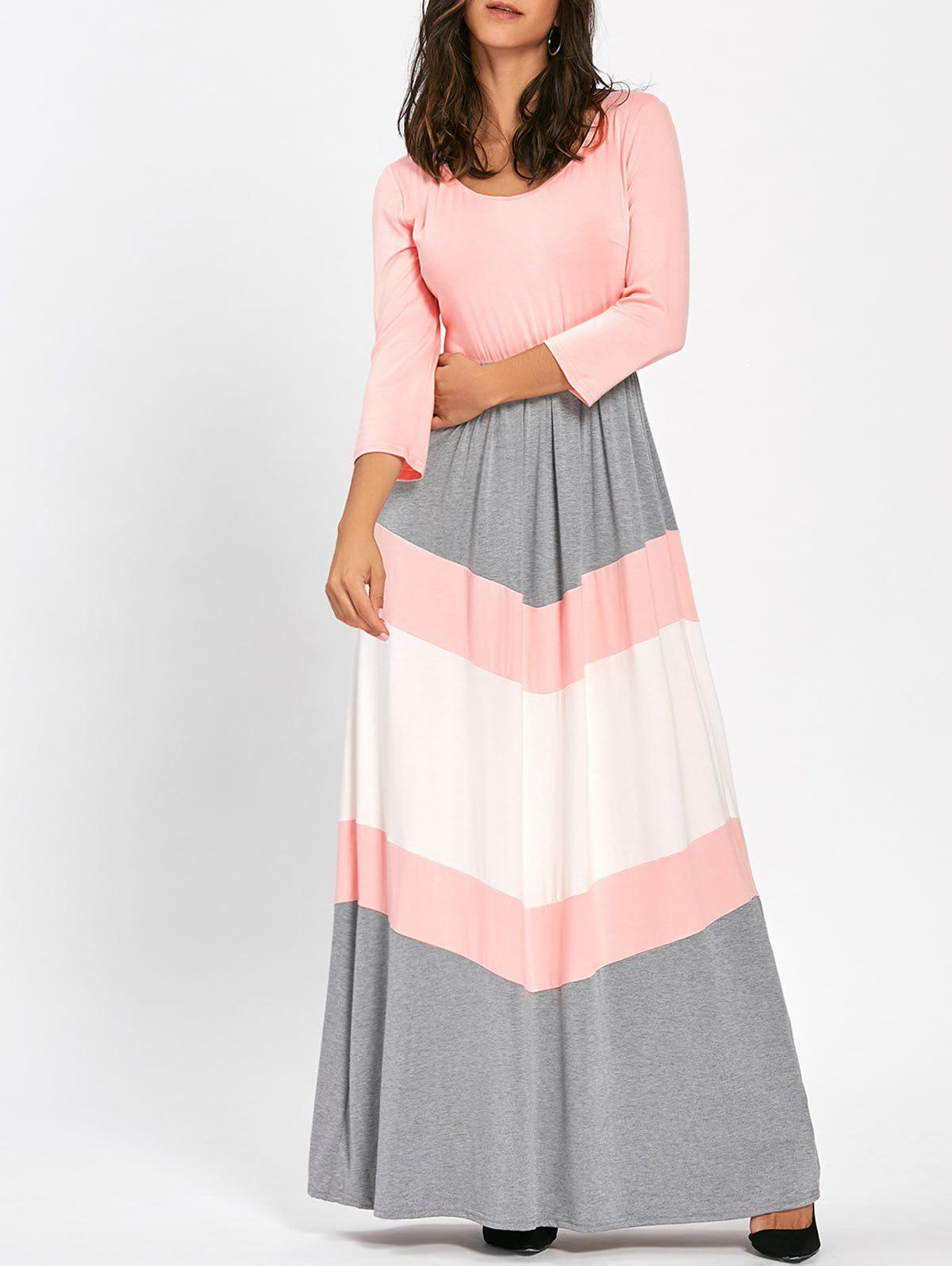 Scoop Neck Chevron Stripe Maxi Dress - PINK L