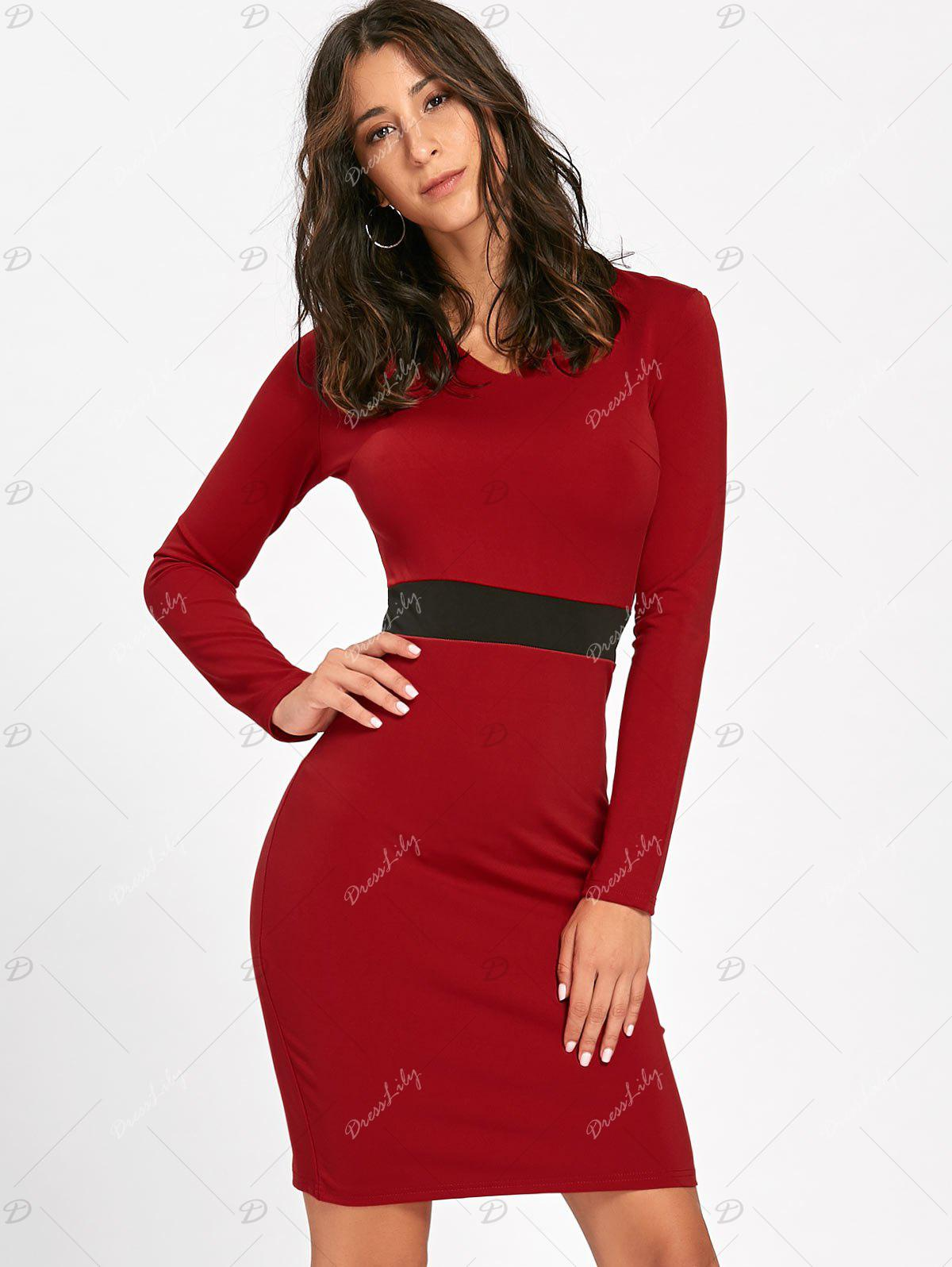 V Neck Two Tone Bodycon Dress - RED L