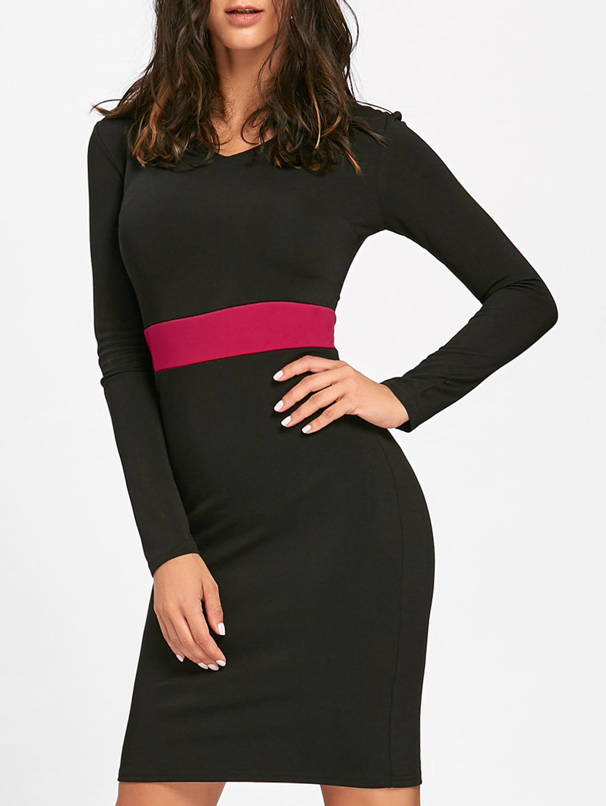 V Neck Two Tone Bodycon Dress - BLACK L