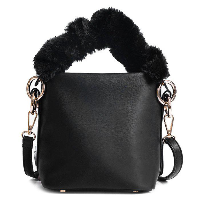 Zipper PU Leather Crossbody Bag - BLACK
