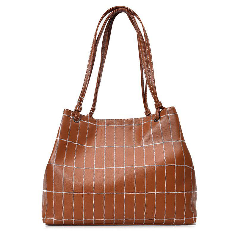 Plaid Faux Leather Stitching Shoulder Bag - BROWN