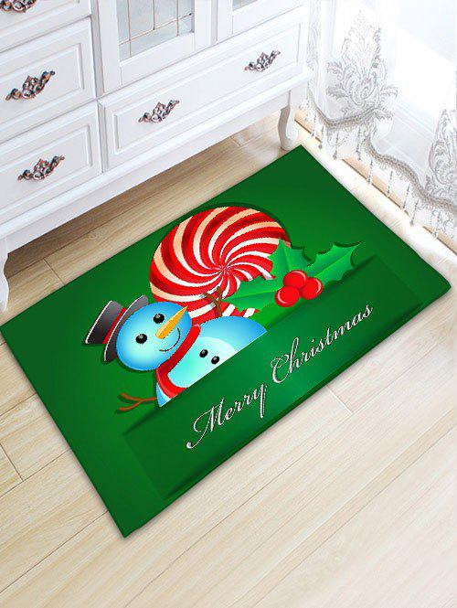 Snowman Christmas Thickening Flannel Area Rug - GREEN W20 INCH * L31.5 INCH