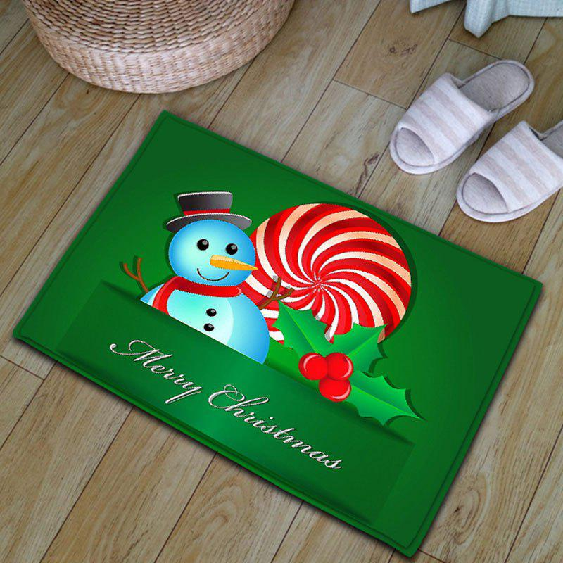 Snowman Christmas Thickening Flannel Area Rug - Vert W20 INCH * L31.5 INCH