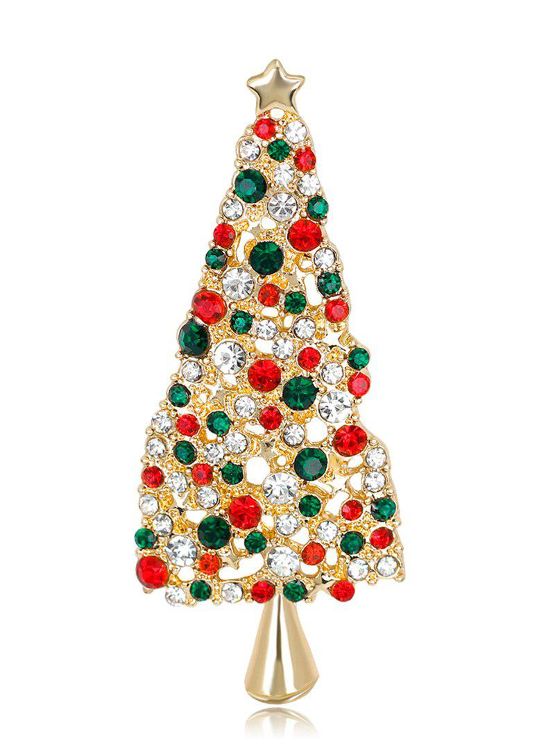 Sparkly Rhinestone Christmas Tree Star Brooch - COLORMIX