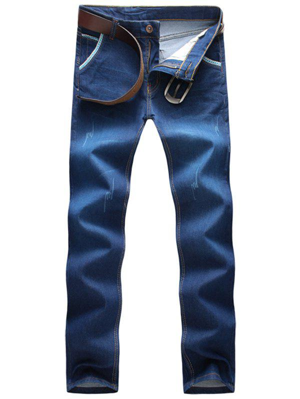 Embroidered Scratched Straight Leg Jeans - BLUE 36