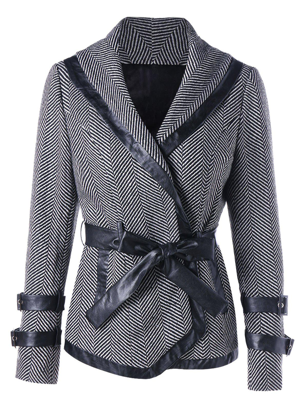 Tie Belt Shawl Collar Coat - BLACK STRIPE 2XL