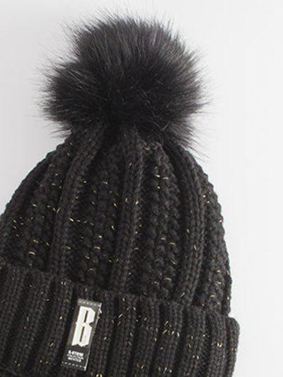 Letter B Label Knitted Pom Hat and Scarf - BLACK