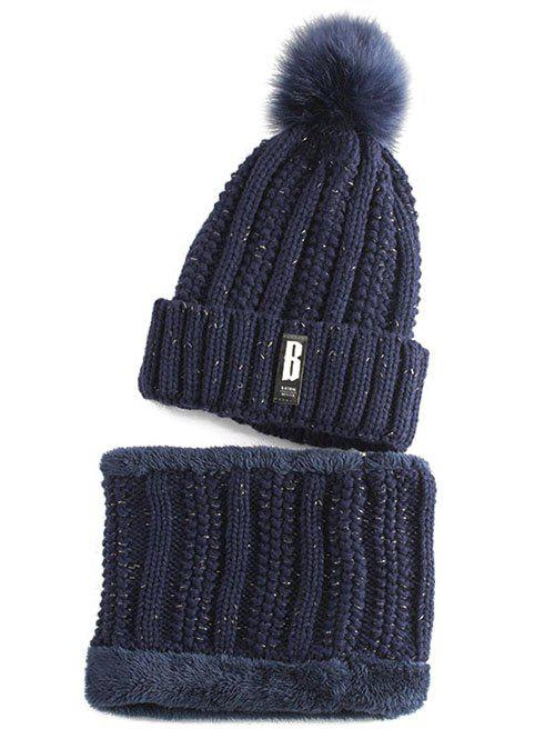 Letter B Label Knitted Pom Hat and Scarf - PURPLISH BLUE