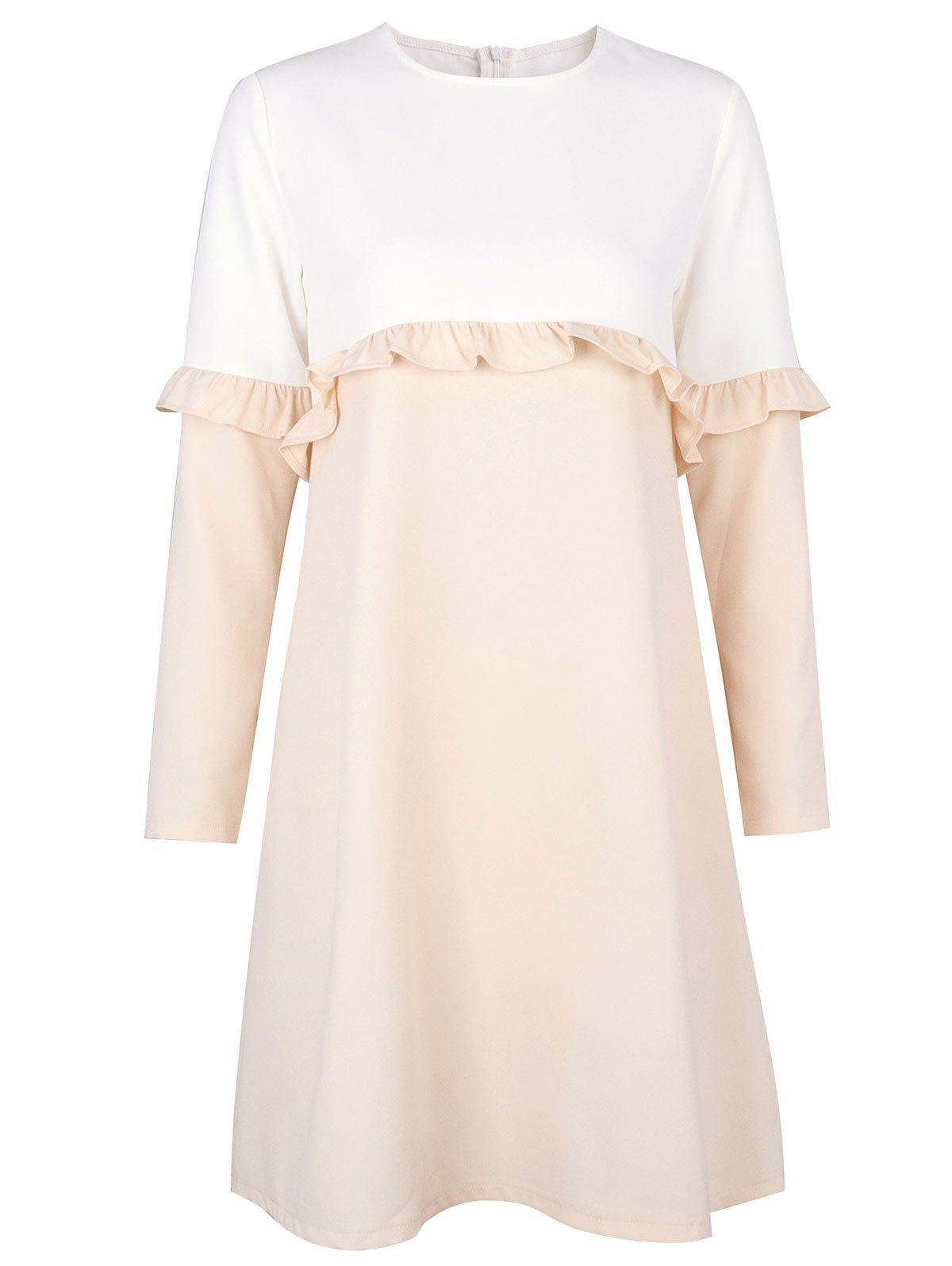 Flounce Two Tone Shift Dress - LIGHT KHAKI M