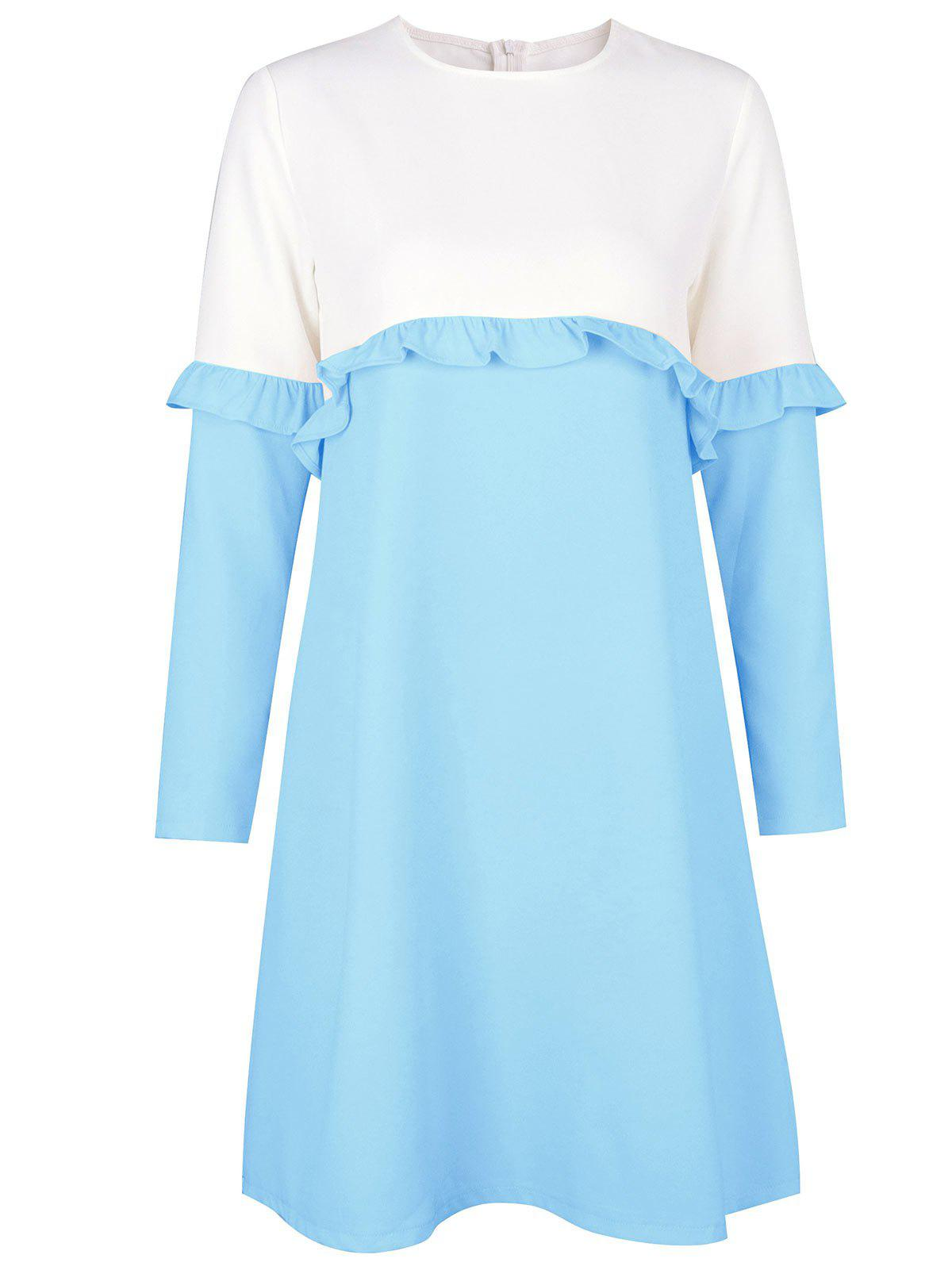 Flounce Two Tone Shift Dress - LIGHT BLUE L