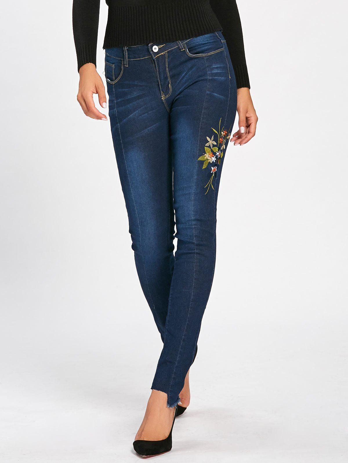 Skinny High Waisted Floral Embroidered Jeans - DEEP BLUE L