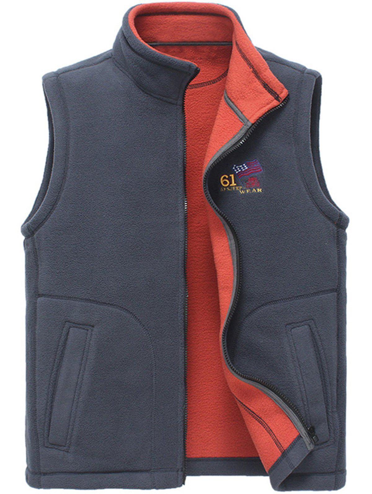 Flag Embroidered Zip Up Fleece Waistcoat - GRAY XL