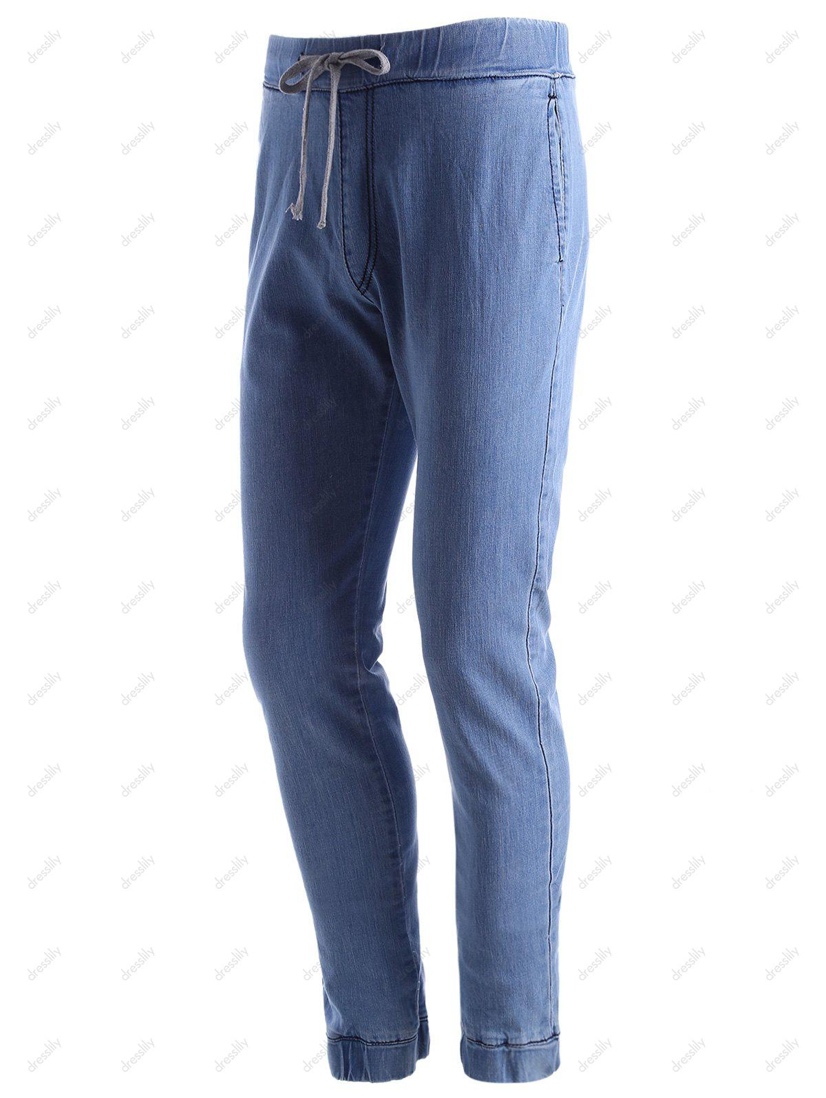 Stretchy Drawstring Jogger Jeans - LIGHT BLUE 32