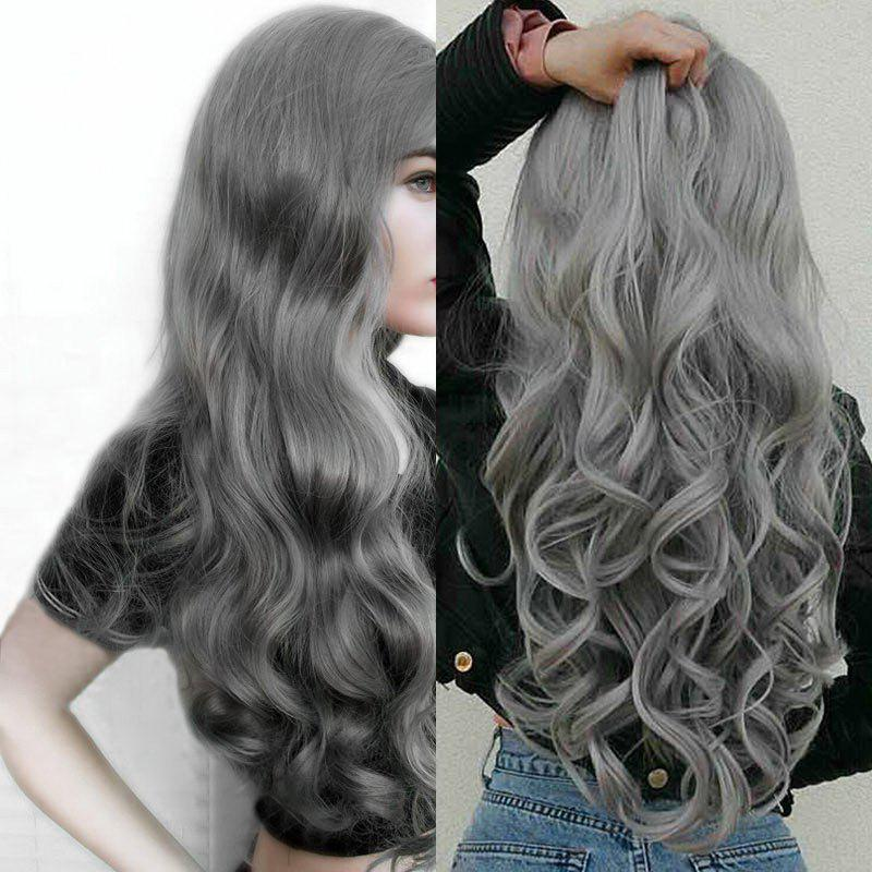 Center Parting Fluffy Long Loose Wave Synthetic Wig - GRAY