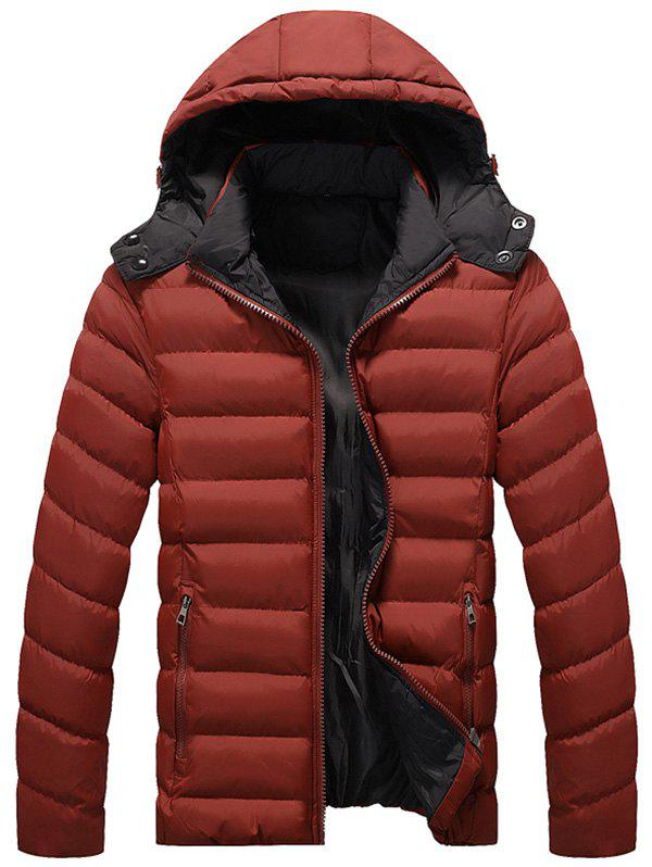 Detachable Hood Zipper Up Quilted Jacket - DEEP RED XL