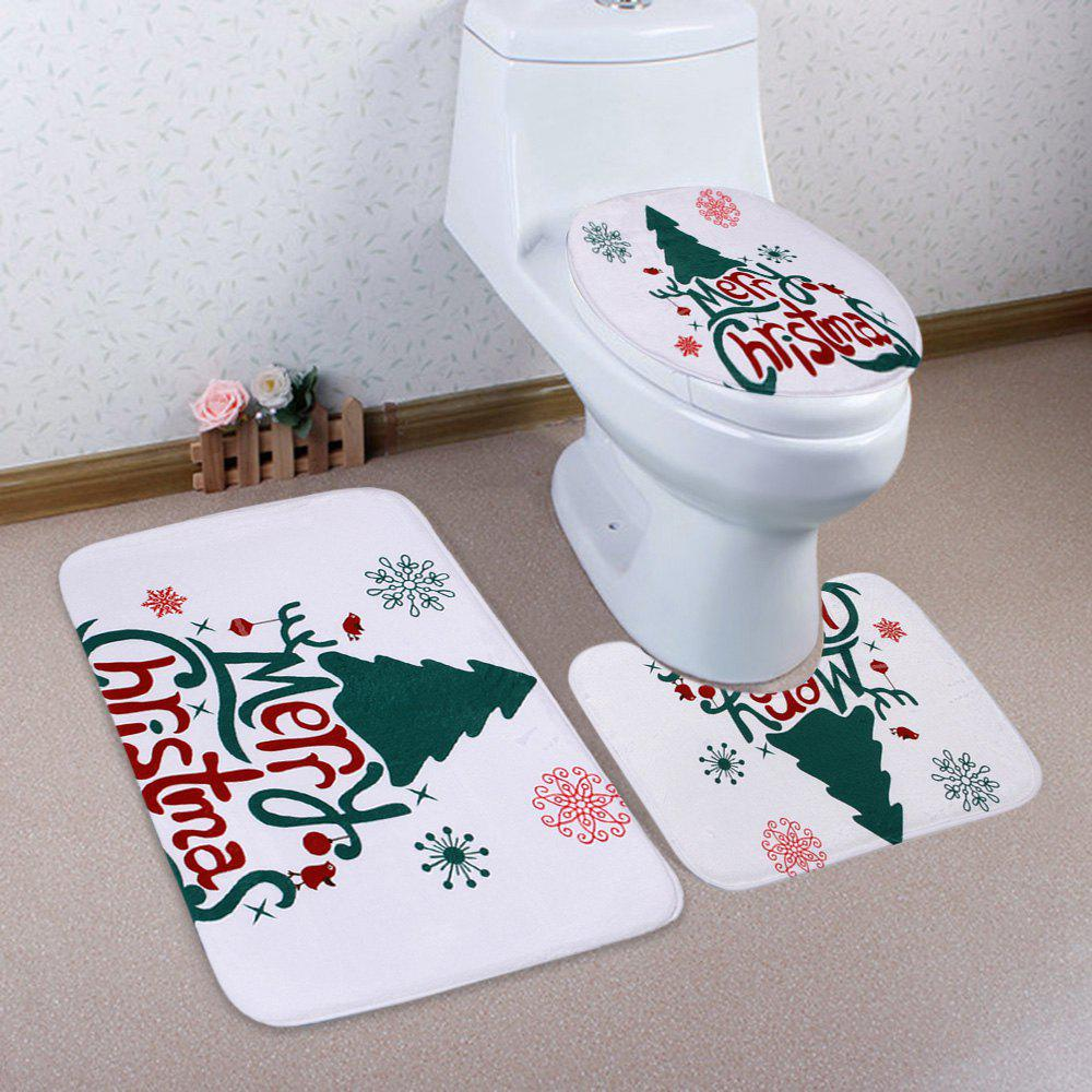 Merry Christmas Tree Pattern 3 Pcs Ensemble de toilette pour salle de bain - multicolorcolore