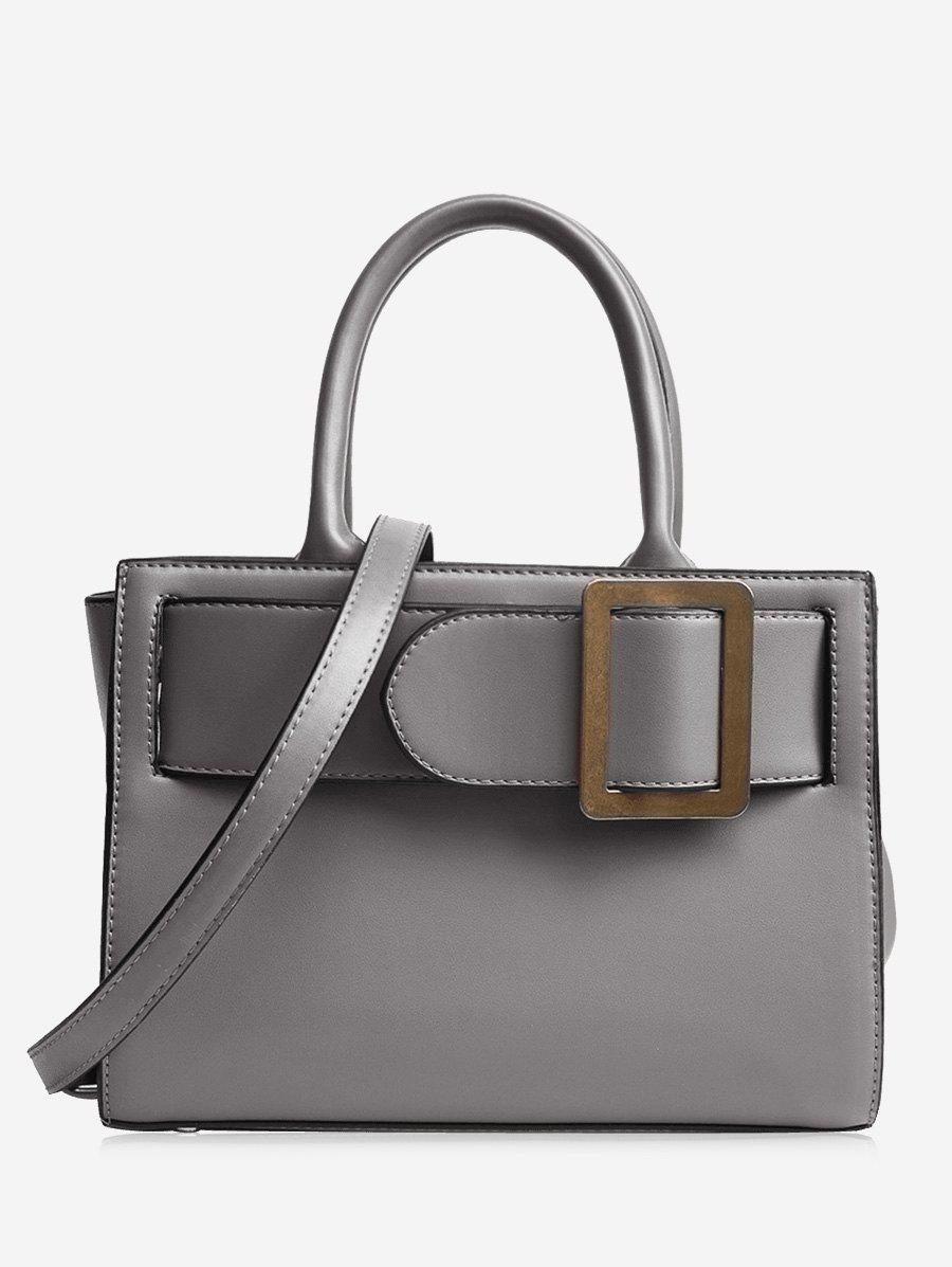 Faux Leather Buckle Strap Handbag - gris