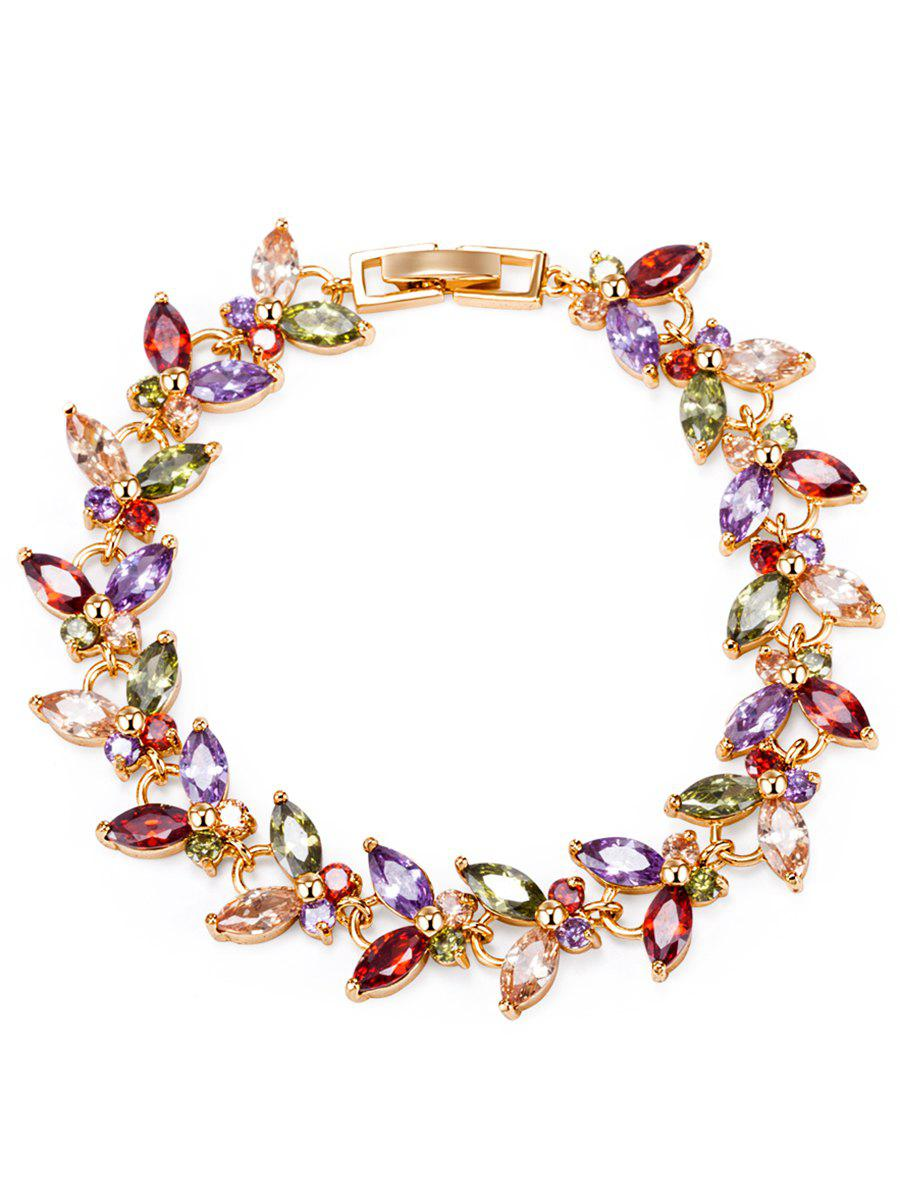 Golden Butterfly Colorful Faux Gemstone décoré Bracelet - Coloré
