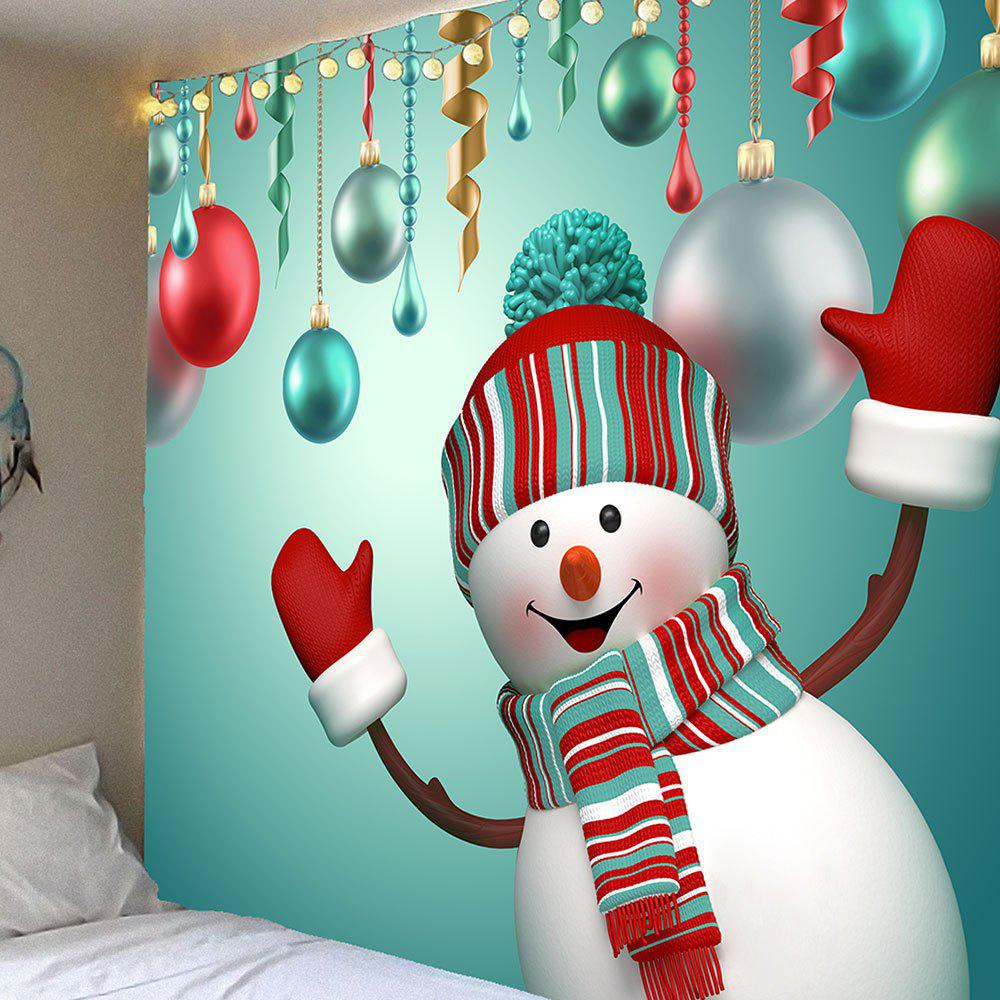 Waterproof Cute Christmas Snowman Pattern Wall Tapestry christmas tree snowman printed wall tapestry