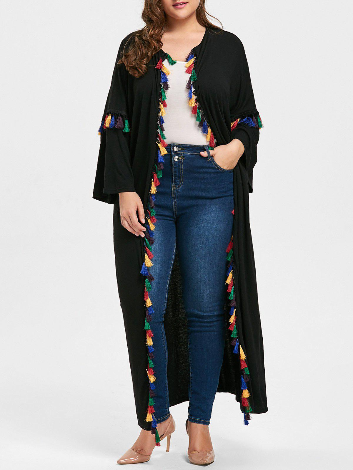 Tassel Drop Shoulder Plus Size Cardigan - BLACK 4XL