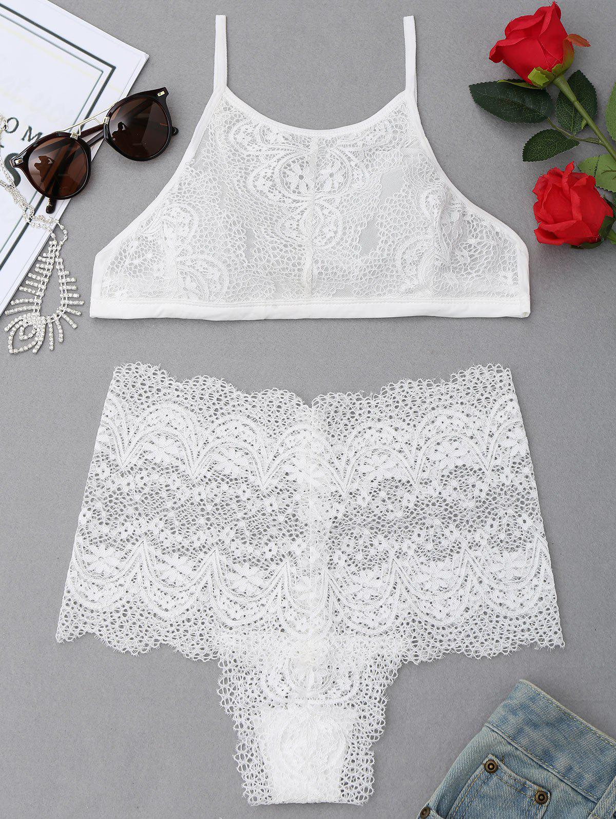 High Neck Lace Bra Set - WHITE S