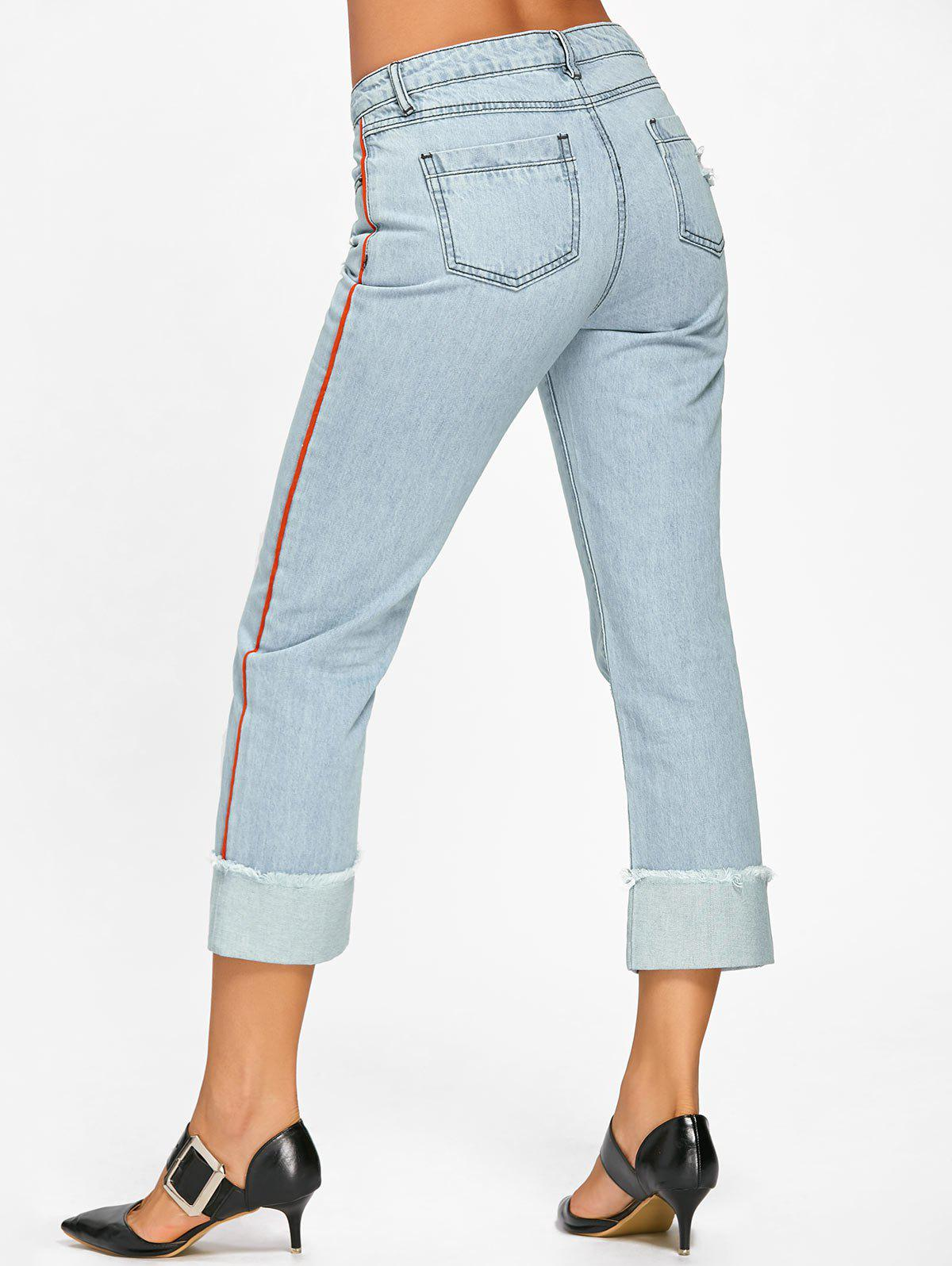 Frayed Faded Cuffed Jeans - LIGHT BLUE 2XL